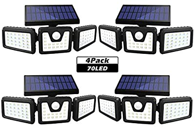 Solar Lights Outdoor, SONATA 3 Adjustable Heads Solar Flood Outdoor Lights, 800LM 6000K Solar Motion Sensor Light Outdoor, IP65 Waterproof, Wide Angle Illumination for Garage, Garden and Pathway
