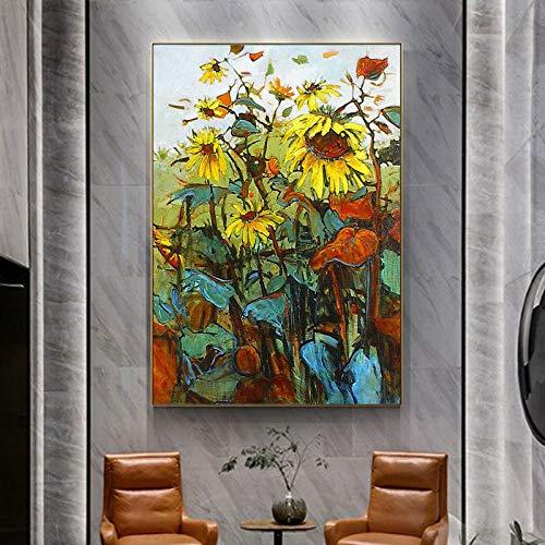 tzxdbh 100% Hand beschilderde zonnebloemen Art Olie Schilderen Op Doek Muur Art Muurdecoratie foto's Schilderen Voor Woonkamer Home Decor-in van Gr (50X70cm)20X28inch With Frame