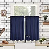 CAROMIO Tier Curtains 36 Inch Length, Embossed Textured Soft Microfiber Short Cafe Kitchen Curtains Bathroom Window Curtains, Navy Blue, 30' Wx36 Lx2