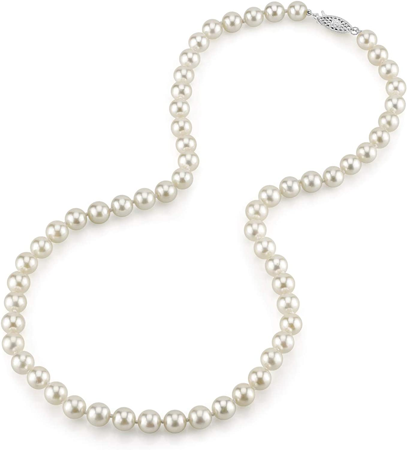 6.5-7.0mm High order White Japanese Akoya Charlotte Mall Cultured Saltwater Pearl Necklace