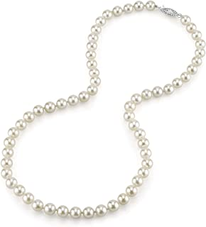 THE PEARL SOURCE 14K Gold 6.5-7.0mm Round Genuine White Japanese Akoya Saltwater Cultured Pearl Necklace in 17