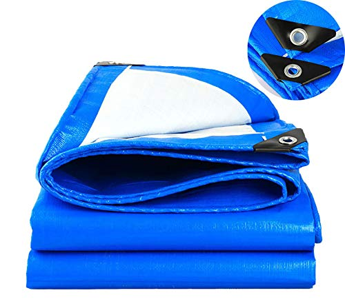 SOVIYAS Heavy Duty Tarp Tarpaulin Reinforced Eyelets Thick 4m x 5m 13ft x16ft (4 x 5 m,150g/m²) PE Tarpaulin Waterproof Blue tarp Sheet Premium Quality Cover Tarp for Outdoor Camping