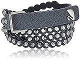 Swarovski Power Armband, Damenarmband in Alcantara Fabric Material mit Silberfarbenen Kristallen, Auch Tragbar als Choker