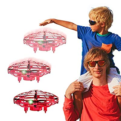 WEW Drones for Kids, 6 Magical Sensors Flying Toys Mini Drone, Hand Operated Drone Helicopter Induction, UFO Drone Gifts for Kids, Easy Indoor Toy Drone for Boys and Girls - Red from WEW