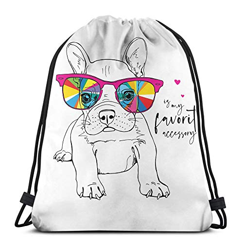 Bulldog Drawstring Backpack Bags Portrait of A French Bulldog Puppy in A Rainbow Glasses Funny Cartoon Aniaml Sport Bag Gym Sack For School Hiking Yoga Gym Swimming Travel Beach