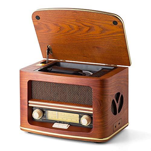 Shuman MC-261 Nostalgisches Holzradio mit CD / MP3-Player, USB-Wiedergabe, eingebauten Lautsprechern