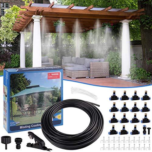 Minterest Sistema de Refrigeración de Niebla, 49ft DIY Garden Cooling Cooler Water Mister System con Boquillas de Nebulización de 15 Piezas para Patio Al Aire Libre Jardín de Césped Riego del Hogar