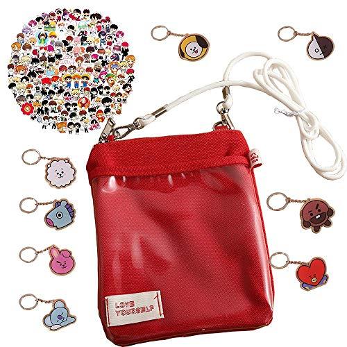 BTS Love Yourself Bolso de hombro de lona roja, mini bolsa con 100 pegatinas BTS y 8 llaveros, regalos para los fans de BTS/amantes