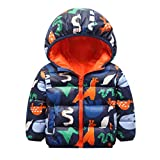Boys Girls Autumn Winter Coats Baby Hoodie Cartoon Print Jacket Toddler Infant Kid Hooded Thicken Down Outfits Windproof Outwear Warm Zipper Snowsuit Windbreaker Pullover Clothes Tops Orange