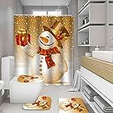 ZHEBEI Feliz Navidad cortina de ducha set Santa Claus muñeco de nieve cortina de baño cojín decoración alfombra antideslizante alfombra cubierta inodoro baño alfombra