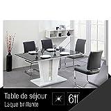 TREVISE Table a manger 6 personnes 150x90 cm - Noir et blanc