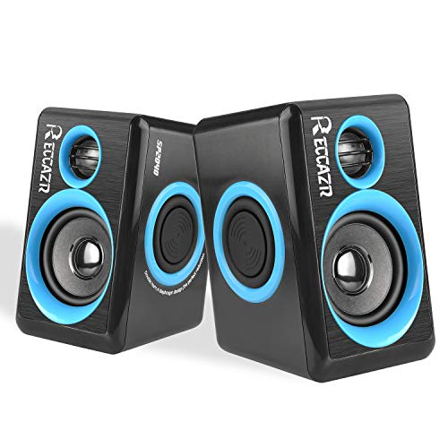 PC Speakers With Deep Bass, USB 2.0 Wired Powered Surround Computer Speaker for PC/Laptops/Desktops/TV/Smart Phone, RECCAZR SP2040 Multimedia Speaker Built-in Four Diaphragm (BLUE)