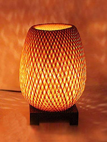Lampe de chevet en bambou tressé double peau + Variateur. Ø15cm x H23,5cm, lampe en bambou salon salle à manger chambre à coucher hôtel restaurant gastronomie salon de thé café bar décoration cadeau