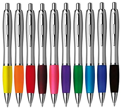StillRich Industries 10 Stück bunte metallic Kugelschreiber Set Premium Kulli, ballpoint pen, hochwertige, ergonomische und blauschreibende Kugelschreiber (bunt)