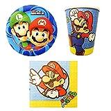 Unbekannt de 32Piezas Super Mario Party de Juego Incluye Platos, Vasos y servilletas de Papel
