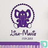 DESIGNSCAPE® Wandtattoo Babyelefant mit Name - Babyzimmer Wandtattoo 91 x 120 cm (Breite x Höhe) mint DW809017-L-F36