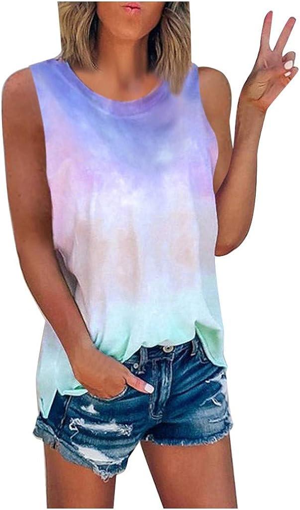 AODONG Womens Tank Tops Casual Summer, Womens Fashion Tie-Dye Printed Vest Tshirt Sleeveless Blouse Tank Top Tunic Tee