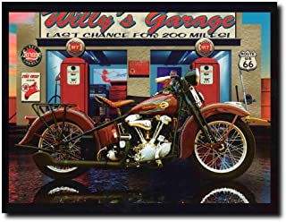 Harley Davidson Willy's Garage Vintage Motorcycle Route 66 Wall Decor Art Print Poster (16x20)