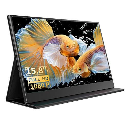 Monitor Portatile 15,8 Pollici Con Schermo IPS 1920×1080 Full HD e USB-C/Type-C/Mini-HDMI Porte Perfetto per Laptop/PC/MacBook Pro/Xbox/PS4/Cellulare Di Type-C (Regalare Copertura Protettiva)