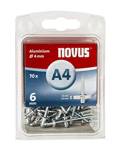 Novus Aluminium-Blindnieten 6 mm, 70 Nieten, Ø 4 mm, 1.5-3.0 mm Klemmlänge, für Nichteisen Metall, Kunststoff und Leder