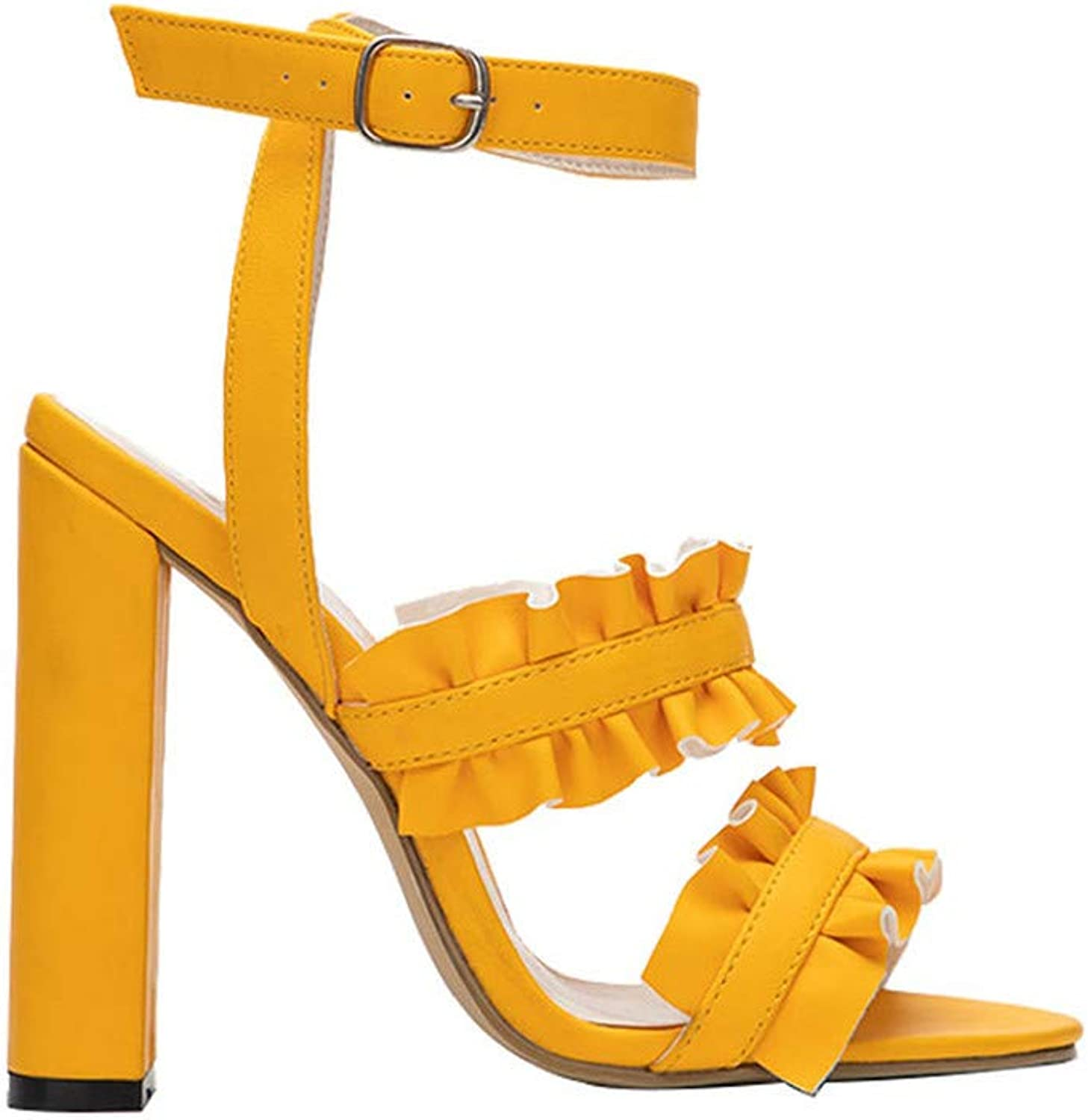 GAO-GEN1 Ruffles Women High Heels Sandals for Summer Flock Buckle Strap Square Heel Solid Ladies shoes