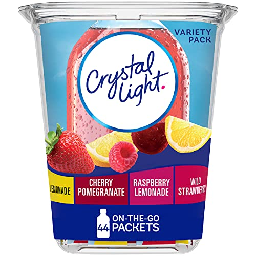 Crystal Light Lemonade, Raspberry Lemonade, Wild Strawberry & Cherry Pomegranate Variety Pack Drink Mix (44 On-the-Go Packets)