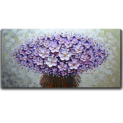 V-inspire Paintings, 20x40 Inch Paintings Modern Textured Purple Flower Oil Painting Contemporary Artwork Floral Hangings Stretched and Framed Ready to Hang Wall Decoration Abstract Painting