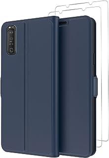 GMUJIAO Fall för Sony Xperia 1 III,Flip Folio Cover,Läderfodral med 2 Skärmskydd i Härdat Glas Magnetisk Stängning -Blå