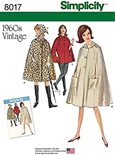 Simplicity Ladies Sewing Pattern 8017 1960s Vintage Style Cape Coat