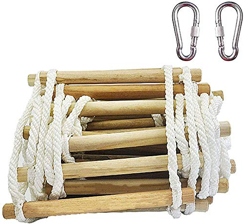 Kedorle Rescue ladder, rope ladder 4 meter (13.1 foot) escape rope ladder for backyard, fitness toys, obstacle course training,Brown