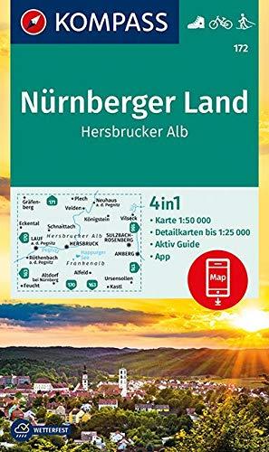 KOMPASS Wanderkarte Nürnberger Land, Hersbrucker Alb: 4in1 Wanderkarte 1:50000 mit Aktiv Guide und Detailkarten inklusive Karte zur offline Verwendung in der KOMPASS-App. Fahrradfahren. Langlaufen.