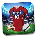 Cadeau personnalisé–Maillot de rugby sur le thème Dessous-de-verre à bière/mat–Cadeau d'anniversaire–Cadeau–Agen Couleurs