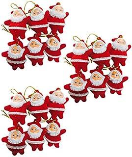 Evisha 18 Pcs Red Small Santa Claus for Christmas Tree Decoration Hanging Ornaments