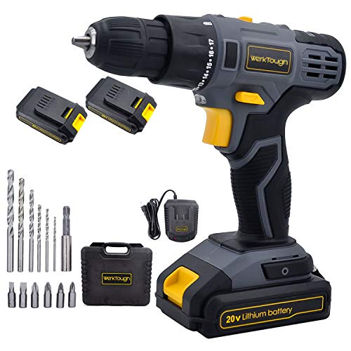 Werktough D023 20V Cordless Drill Driver Powerful Screwdriver 2×2.0Ah Li-ion Battery Platform with Fast Charger D023