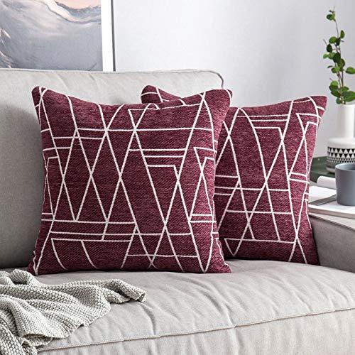 MIULEE 2 Piezas Fundas de Cojines para sofá Gamuza Sintética Almohada Caso de Diseño Geométrico Decorativas Fundas Cojines para Habitacion Juvenil Sofá Comedor Cama 50x50cm Carmesí