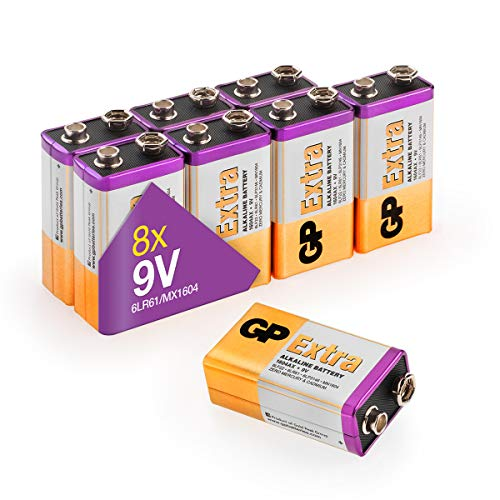 GP Extra Alkaline 9V Block Batterien (6LR61, MN1604, 9Volt E-Block) Longlife 9v Batterien mit hoher Energiedichte für Lange Lebensdauer (8 Stück Blockbatterien 9 Volt)