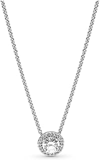 Jewelry - Round Sparkle Halo Necklace for Women in PANDORA Rose and Sterling Silver with Clear Cubic Zirconia