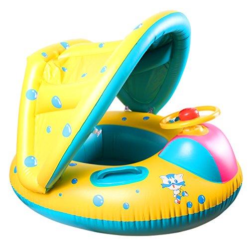 Swonuk Anillo Natacion Juguetes de Piscina Flotador Asiento con Sombrilla para 12 Meses -2 años Bebé
