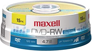 Maxell(r) 635117 4.7gb 120-Minute Dvd-Rws (15-Ct Spindle) 5.50in. x 5.50in. x 1.75in.