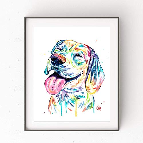 Beagle Wall Art by Whitehouse Art | Beagle Gifts, Dog Decor, Dog Gifts | Professional Print of Beagle Original Watercolor | Dog Memorial | 6 Sizes