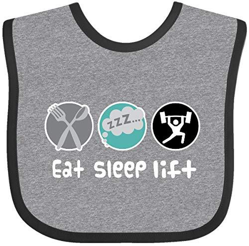Inktastic Weightlifting Gift Eat Sleep Lift Sports Baby Bib Heather and Black