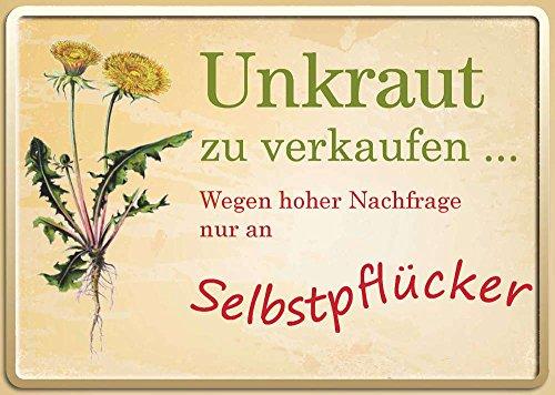 Unkraut zu verkaufen... Blechpostkarte, 15 x 11 cm