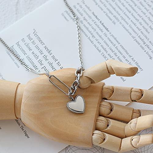 Focisa Collar Colgante Cadena Collares Hombre Mujer Collar De Joyería para Mujer, Collar De Cadena De Empalme De Amor, Cadena Media Y Larga, Acero De Titanio, Retención De Color, Collar D