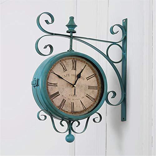 yuanbogg Reloj De Pared De Doble Cara, Reloj De Hierro Forjado para Sala De Estar, Reloj De Pared Retro Antiguo Silencioso, Reloj De...