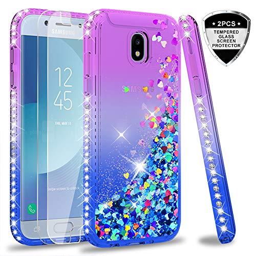 LeYi Funda Samsung Galaxy J5 2017 Silicona Purpurina Carcasa con [2-Unidades Cristal Vidrio Templado],Transparente Cristal Bumper Telefono Fundas Case Cover para Movil Galaxy J5 2017 ZX azul/Púrpura
