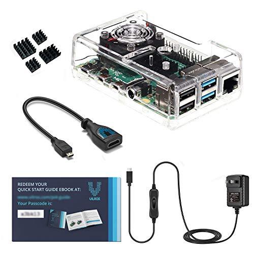 Vilros Accessories - Kit de iniciación para Raspberry Pi 4 (Incluye Fuente de alimentación refrigerada por Ventilador, disipador de Calor (Juego de 4) y Adaptador Micro HDMI
