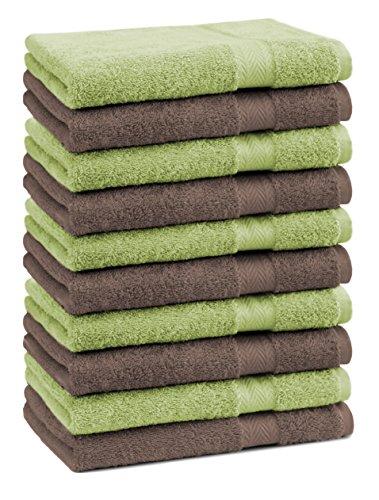 Betz Lot de 10 Serviettes débarbouillettes lavettes Taille 30x30 cm 100% Coton Premium Couleur Vert Pomme et Marron Noisette
