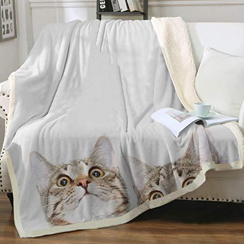 ZHANGWENJIE Manta de Gato de Acuarela Manta de Tiro de Animal Lindo Manta de Gato Azul púrpura par para él su Cama sofá Silla Gato 264x228cm 4