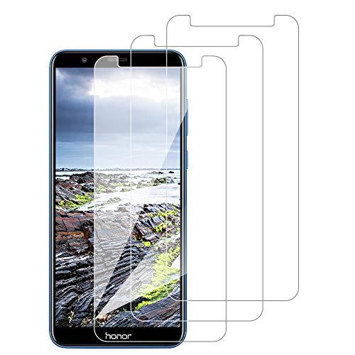 [3 Pack] Amonke Protector Pantalla para Huawei Honor 7X Cristal Templado, Plana pero Incompleta Cobertura, 9H Dureza, Anti-Arañazos, Screen Protector para Huawei Honor 7X