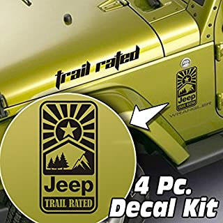 SkunkMonkey - Jeep Wrangler LJ TJ JK JKU 4 Piece Side Hood & Fender Decal Kit - Trail Rated Sun - Matte Black Stickers